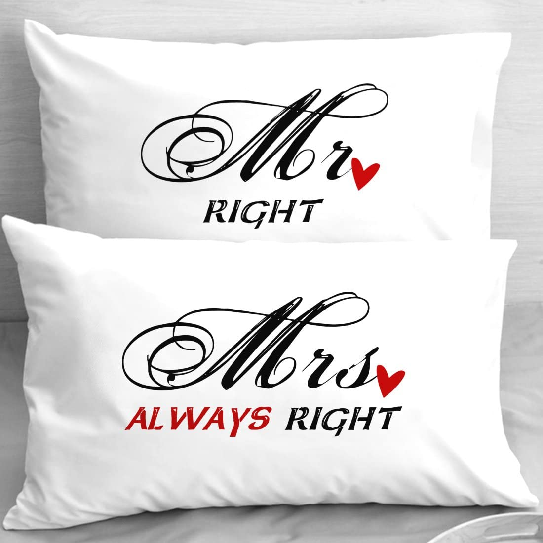 Couple pillowcases Mr Right Mrs Always