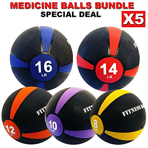 FITNESS MANIAC Exercise Ball Deal 8lbs 10lbs 12lbs 14lbs 16lbs Durable Rubber Comfort Textured Grip for Strength Training Cardio Fitness Exercise Heavy Duty Body Workout Medicine Ball Set by FITNESS MANIAC