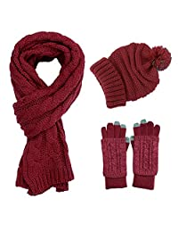 KENZOE Wine Red Soft Warm Thick Cable Knitted Hat Long Scarf Beanie Mitten Touch Screen Gloves Gift Set(Wine Red)