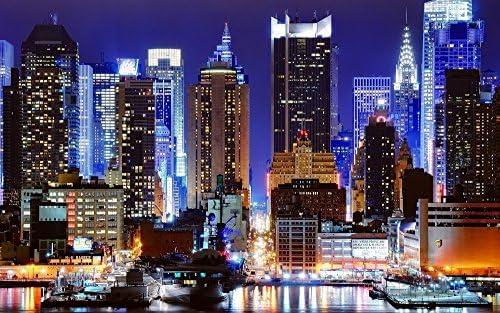 絵画風 壁紙ポスター はがせるシール式 タイムズスクエアの夜景 ニューヨークの夜景 キャラクロ 921mm 576mm 耐候性塗料 ワイド版 ブランド激安セール会場 建築用壁紙 Nyk 023w1