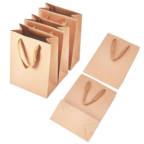 pandahall 10Pcs Sacs en Papier Kraft Pochette Cadeau Sacs à Provisions Rectangle Emballage Cadeaux avec Poignées en Fil de Nylon pour Fête Mariage Halloween Noël, Burlywood, 33x28x10cm