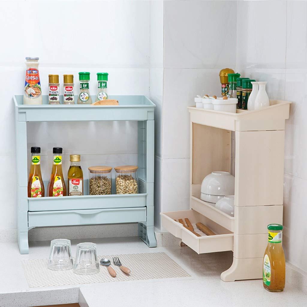 Rack da cucina Cucina di casa Doppio Strato Cassettiera Cucina Plastica Multilayer Ripiani Scaffale di Stoccaggio Colore : Beige