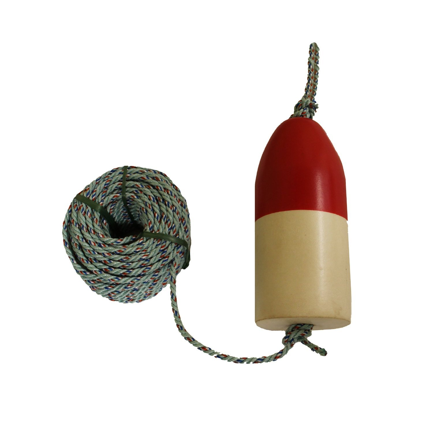 KUFA Sports 1/4 Diameter/100' Lead Core Rope & 11'' Red/White Float Combo