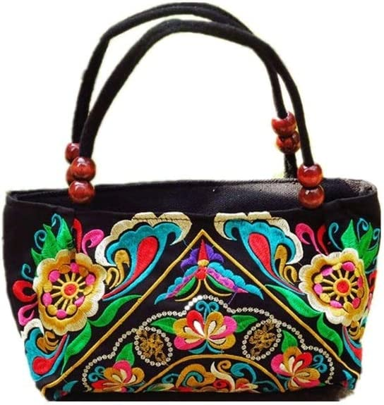 Embroidery Handbag Colorful Art Flower Evening Purses and Handbags for Women Girl Teen Vintage Chinese Ethnic Embroidered Totes Bag