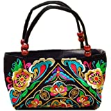 Embroidered Women Handbags Flower Embroidery Ethnic Shoulder Bags Hmong Tote Yellow