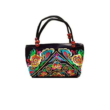 7028ecef06 Embroidered Women Handbags Flower Embroidery Ethnic Shoulder Bags Hmong  Tote Yellow