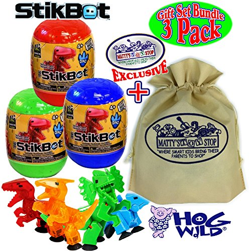 Hog Wild StikBot Dinosaur (Dino) Mystery Egg Figures Gift Set Bundle with Exclusive Mattys Toy Stop Storage Bag - 3 Pack (Assorted)