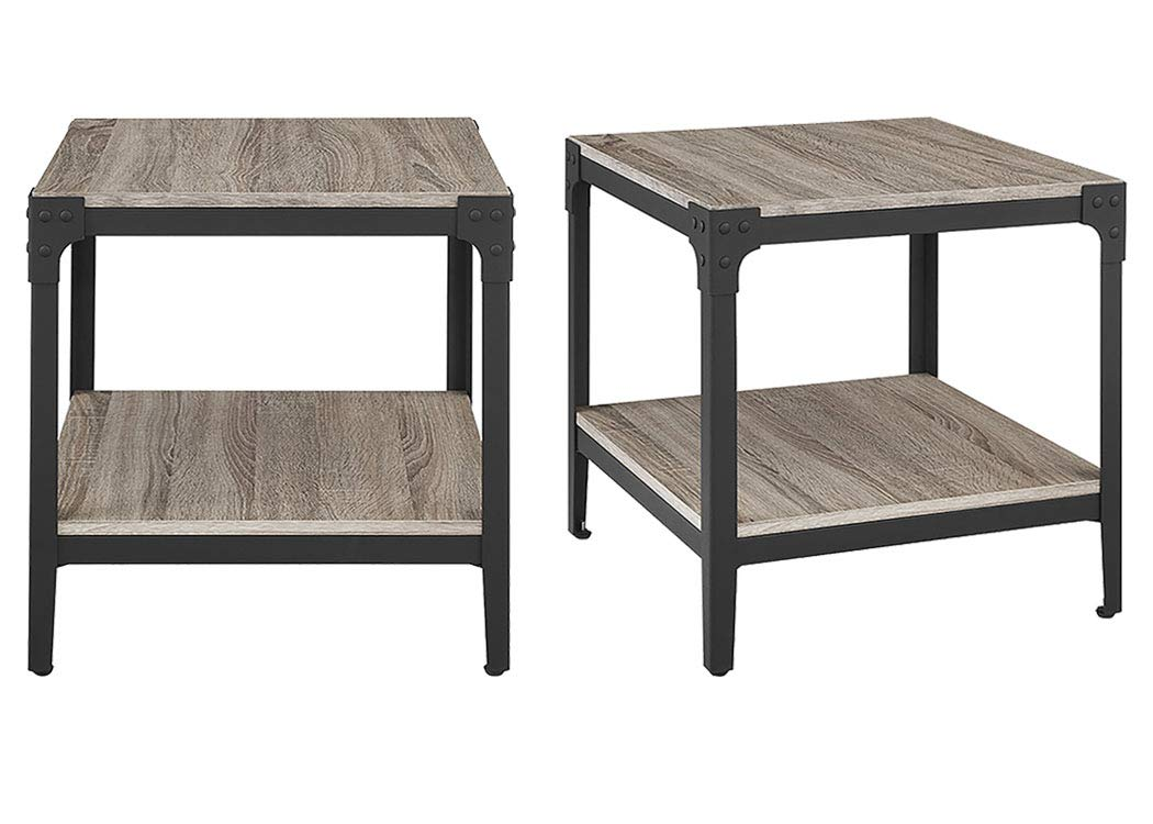 WE Furniture Angle Iron Wood End Tables in Driftwood - Set of 2 by WE Furniture