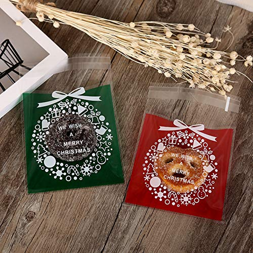 super1798 100Pcs Christmas Garland Wreath Plastic Gift Bags Cookies Candy Packaging Pouch Red by super1798 (Image #3)