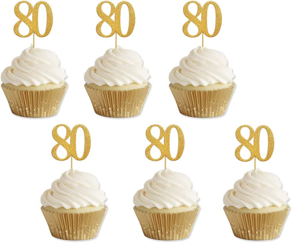 Astonishing Amazon Com Gold Glitter 80Th Birthday Cupcake Toppers Party Funny Birthday Cards Online Aboleapandamsfinfo