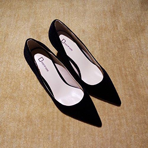 Xue Qiqi Court Schuhe Spitze Hohe Absätze Weiblichen Samt Fein mit Einzelnen Schuhe Weibliche Rote Brautschuhe Hochzeit Schuhe Weiblich 33 Schwarze Haut 10CM
