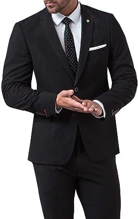 5076ef1c773a Avail London Mens Black Suit Jacket Muscle Fit Stretch Notch Lapel-36R