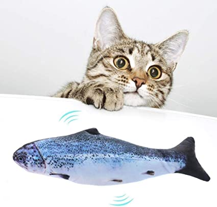Pet Pillow Chew Bite Fish Flop Cat Toy for Kitten Kitty Cats Interactive Refillable Flopping Moving Fish Toys Realistic Plush Simulation Electric Doll Fish Hamkaw Catnip Cat Kicker Fish Toy