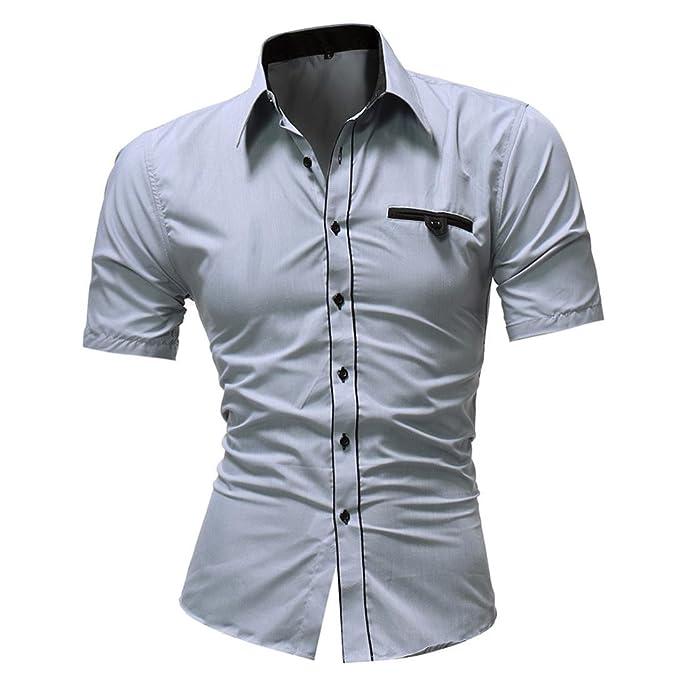 fd5106809b4f URSING Herren Slim Fit Kurzarm Hemden Männer Shirt Mode Klassisch Einfarbig  Herren Casual Kurzarmhemd Freizeithemd Sommerhemd