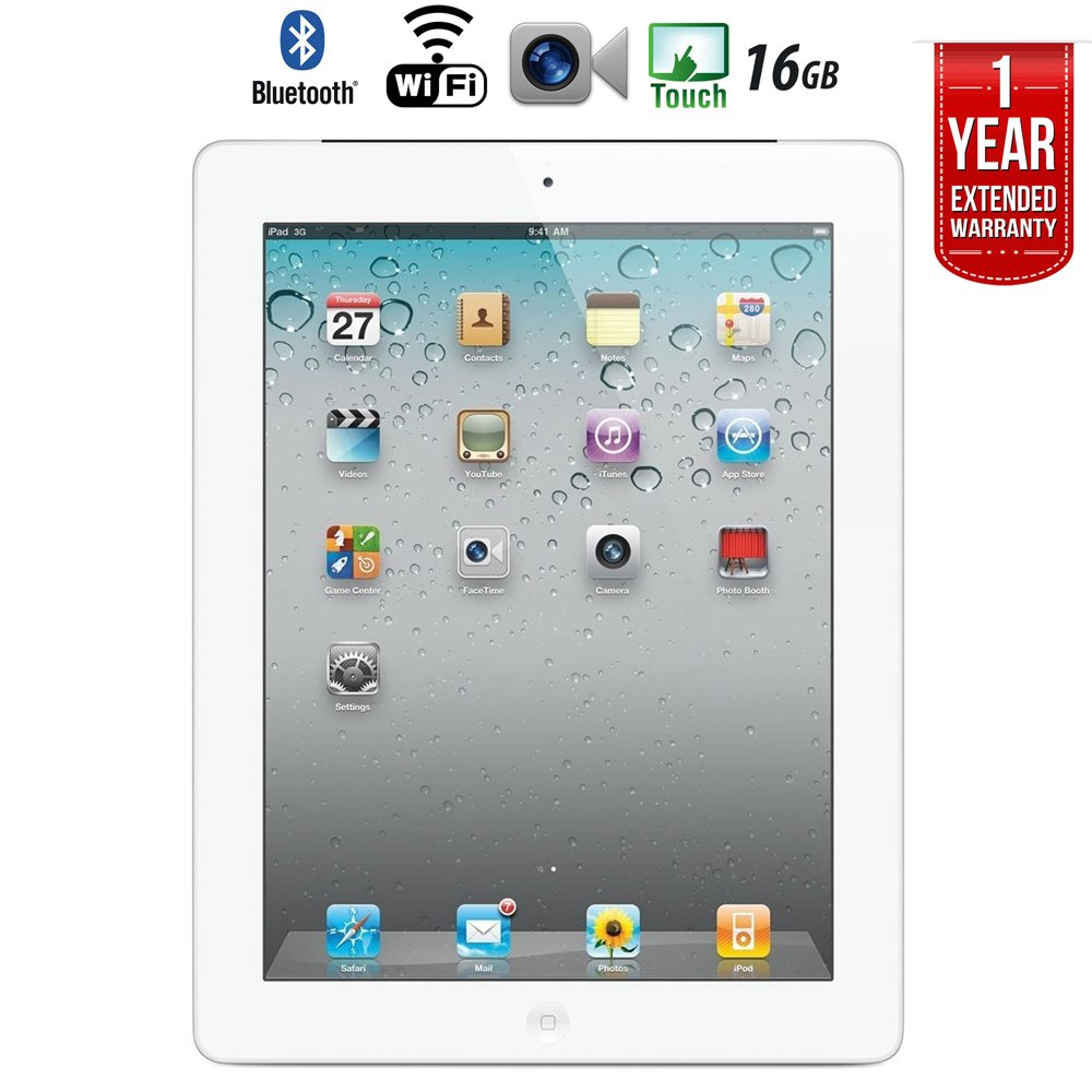Apple iPad 2 MC916LL/A Tablet (16GB, Wifi, White) 2nd Generation with 1 Year Extended Warranty - (Certified Refurbished)