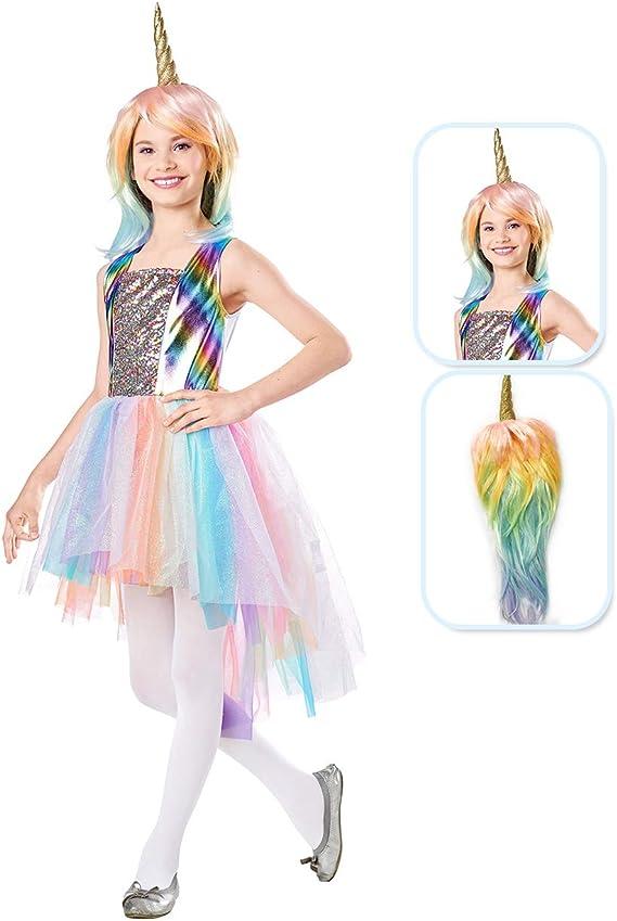 Seasons Direct Halloween Girls Pastel Rainbow Unicorn Costume with Wig (3-4)