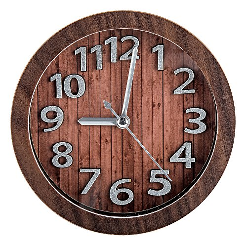 Vitaa-Vintage 5 Inch Retro Old Fashioned Quiet Non-Ticking Sweep Second Hand, Quartz Analog Desk Clock, Battery Operated, Loud Alarm (Brown)