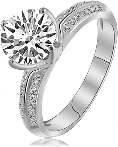Amazon Com Luckyweng Solitaire Engagement Promise Wedding Rings