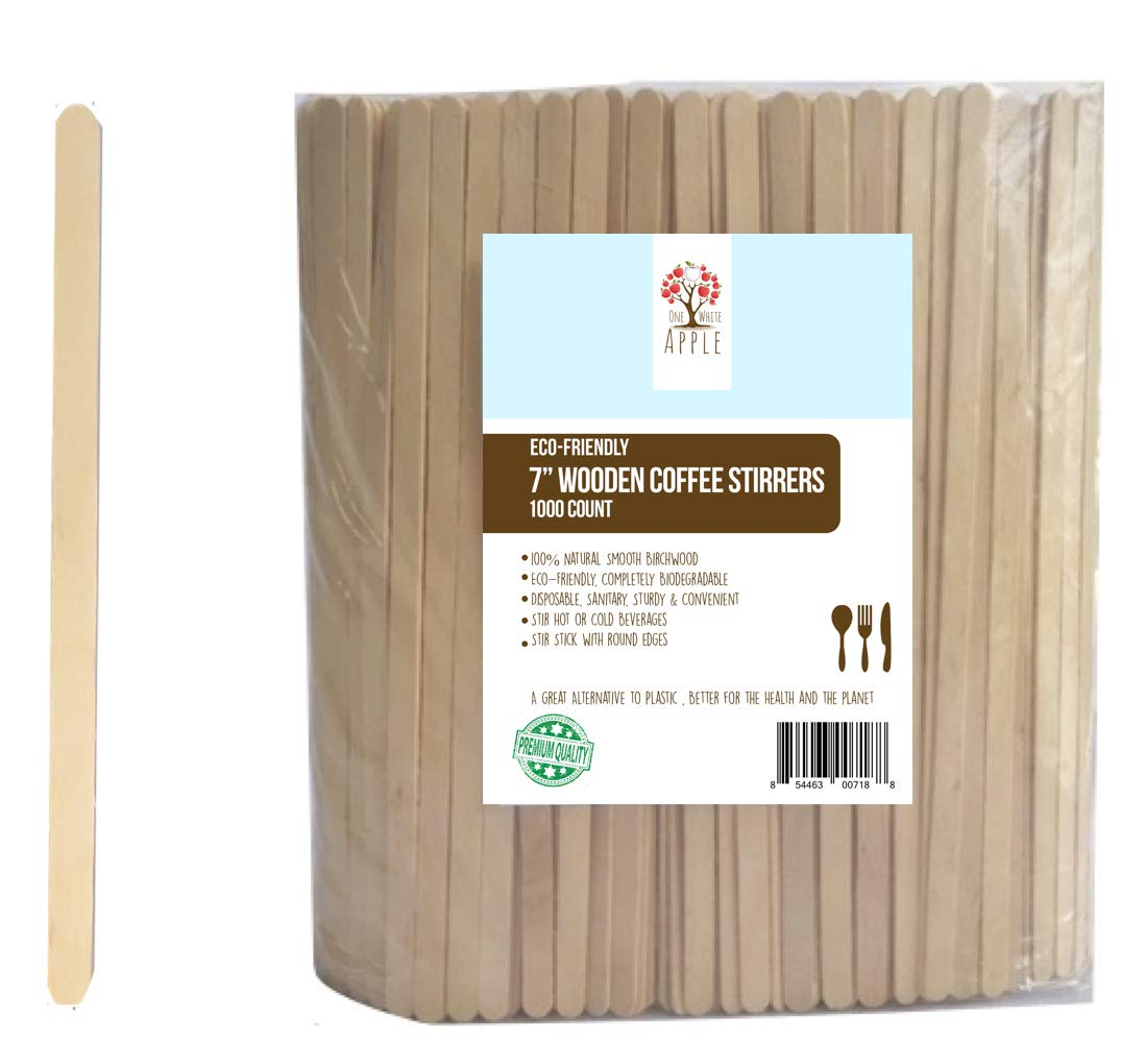 "Wood Coffee Beverage Stirrers, Coffee Stir Sticks 7"" (1000 Count) EcoFriendly Completely Biodegradable, Coffee Stirrers For Hot & Cold Beverages as Coffee & Tea Alternative to Plastic Stirrer"