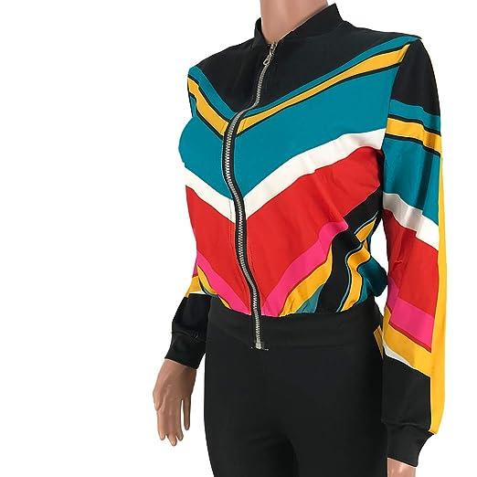 ed09cca94d5f Amazon.com  Women s 2 Pieces Outfits - Casual Long Sleeve Color Block Zipper  Jacket Bodycon Pants Set  Clothing