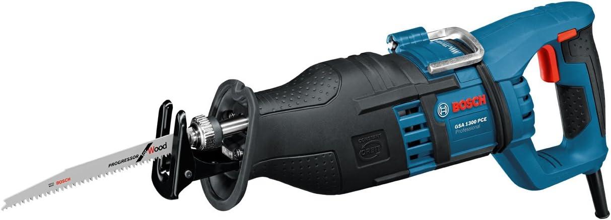 BOSCH 060164E200 - Sierra sable GSA 1300 PCE Professional. 1.300 W. Sistema anti-vibración. Sistema pendular permanente. Cambio SDS. Placa base ajustable. 0-2.900 cpm. Luz LED. 4,1 Kg con Maletín.
