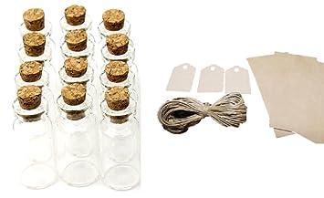 12 botes de cristal con etiqueta colgante y pergamino para mensaje