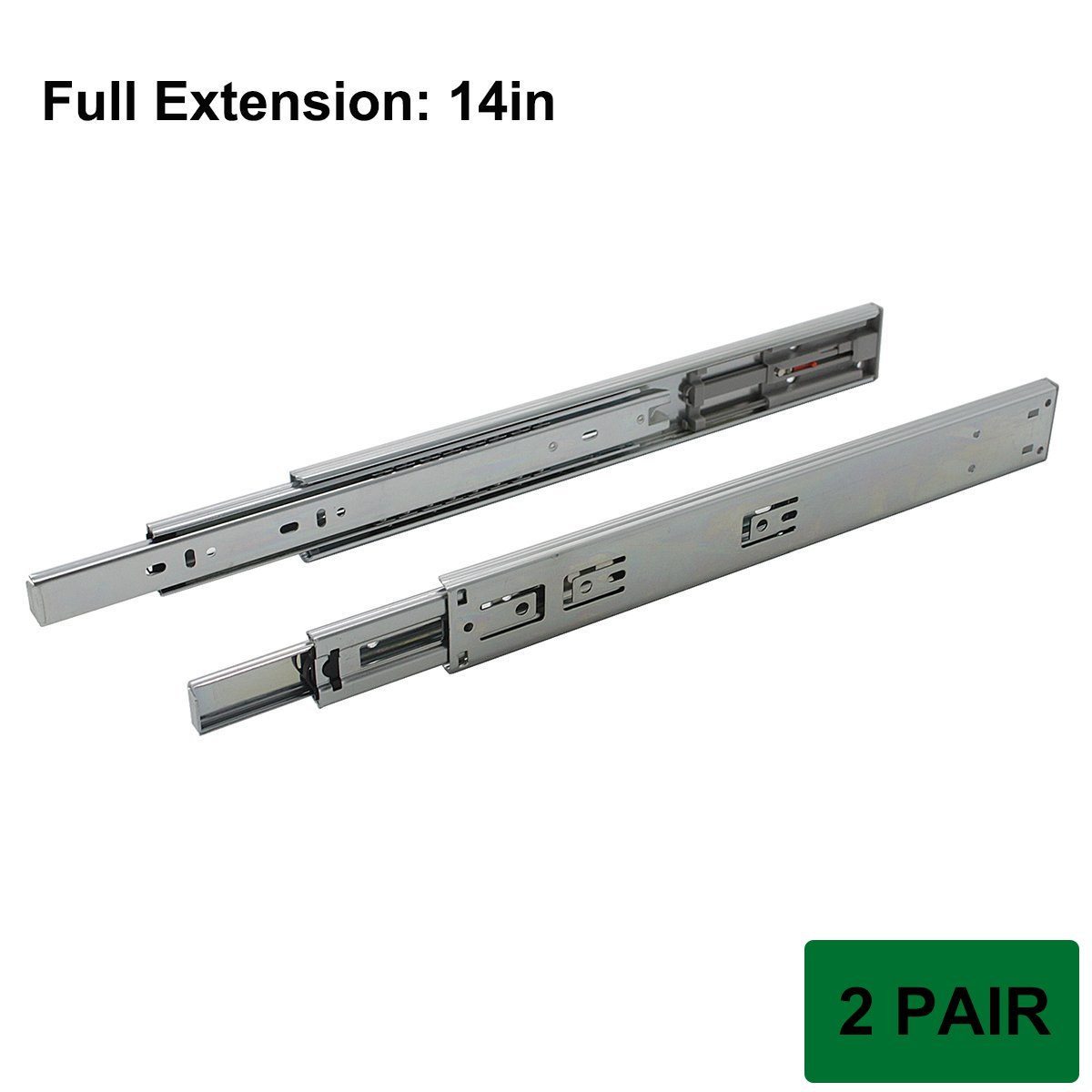 Probrico 2 Pair Push to Open Full Extension 3-fold Ball Bearing Side Mount 14 inch Furniture Slides