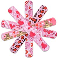 YIQIHAI 20pcs Valentine's Day Slap Bracelets with 5 Different Designs Slap Bands for Valentine's Day Party Favors, Kids Valentine's Day Gift and Classroom Exchange
