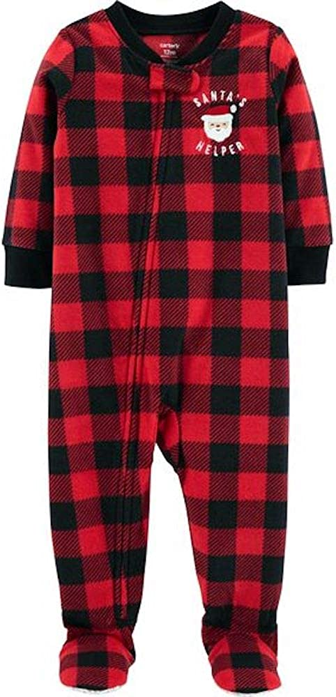 Carters 1-Piece PJs Pajama Santa Buffalo Plaid Fleece Sleeper//Footie 24 Months