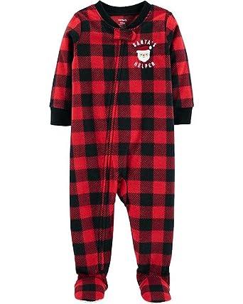 3e3653128a84 Amazon.com  Carter s 1-Piece PJ s Pajama Santa Buffalo Plaid Fleece ...