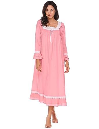 c78c35d23c Ekouaer Women Long Sleeve Sleeveless Nightgown Victorian Vintage Loungewear  Lace-Trimmed Loose Nighties Sleepwear