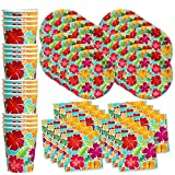 Hawaiian Hibiscus Flower Birthday Party Supplies Set Plates Napkins Cups Tableware Kit for 16 by Birthday Galore