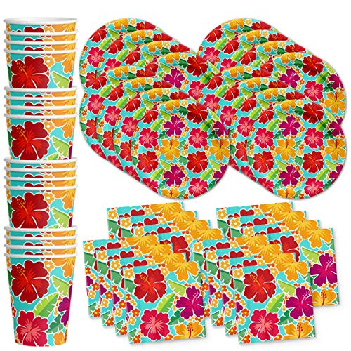 Hawaiian Hibiscus Flower Birthday Party Supplies Set Plates Napkins Cups Tableware Kit for 16 by Birthday Galore]()