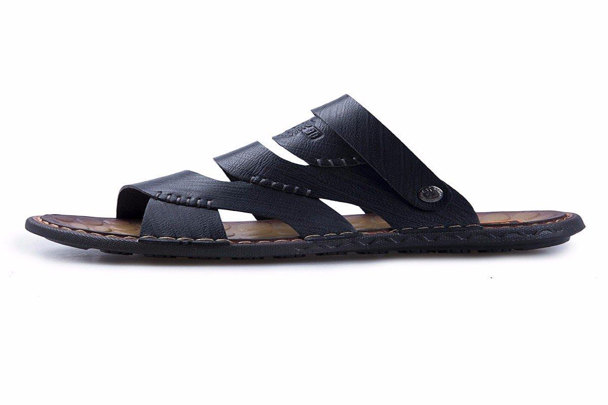 KMJBS-Weiches Leder Männer Sandalen Freizeitkleidung mit Leder-Slipper Weichen Boden Lederschuhe Mittleren Alters und Alte Schuhe.