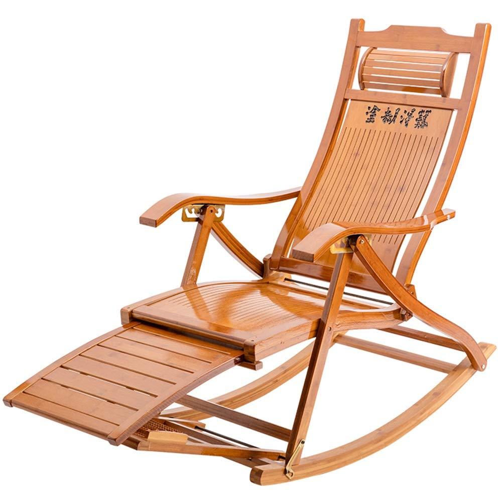 ZHIRONG ロッキングチェア 竹 折る ラウンジチェア ガーデンチェア 高齢者の昼休み用チェア アームチェア 怠惰な椅子 フットマッサージチェア コットンパッド付き B07RPVXXLB