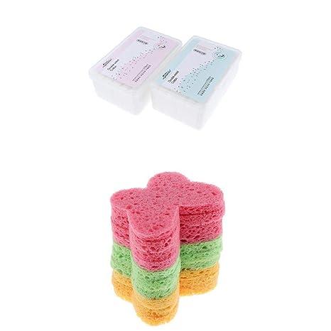 Homyl 10 Unidades Esponja Exfoliante Facial Suave Rostro + 2 Caja Almohadillas Removedor Facial Toallitas Deschables