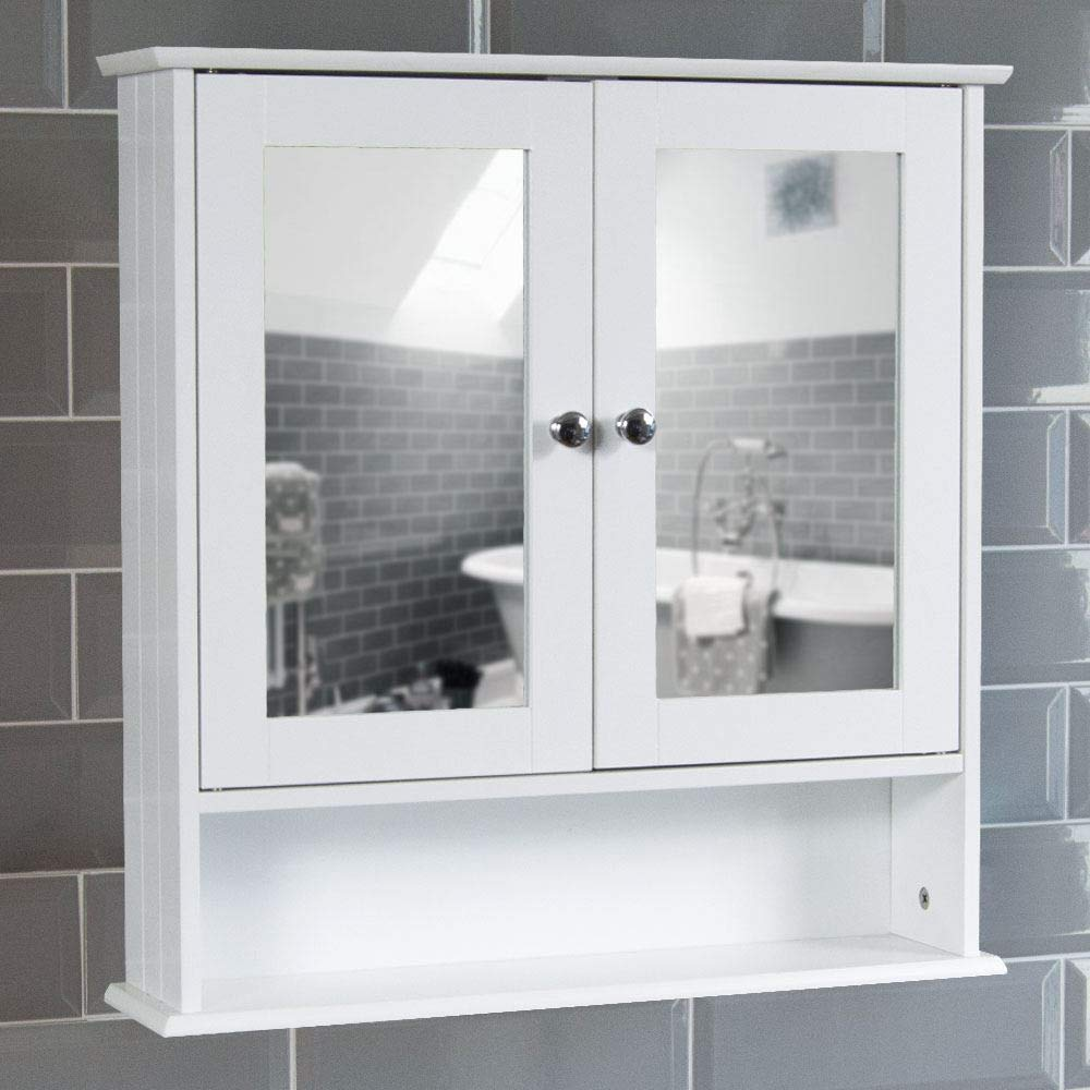 Prime Bath Vida Bathroom Cabinet Mirrored Double Doors Wall Mounted Storage Furniture White Home Interior And Landscaping Transignezvosmurscom