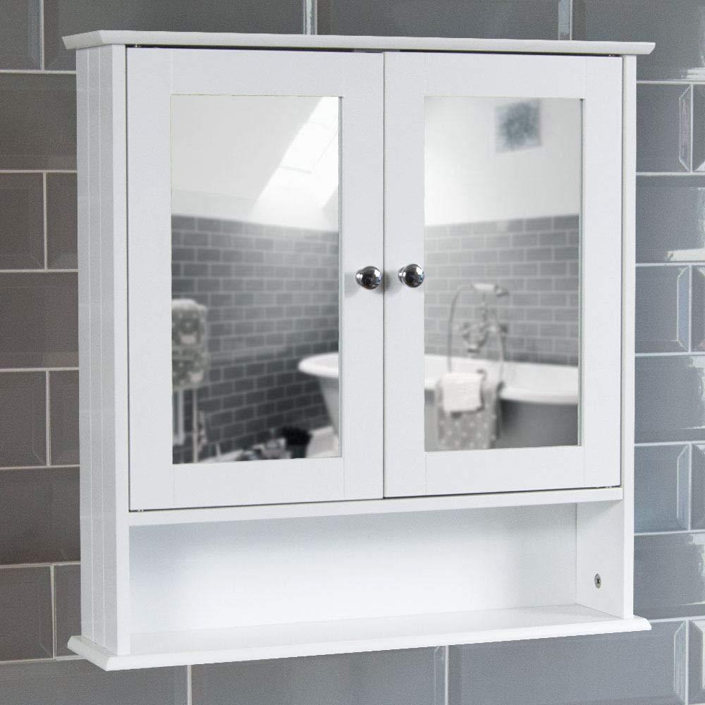 Amazing Bath Vida Bathroom Cabinet Mirrored Double Doors Wall Mounted Storage Furniture White Download Free Architecture Designs Oxytwazosbritishbridgeorg