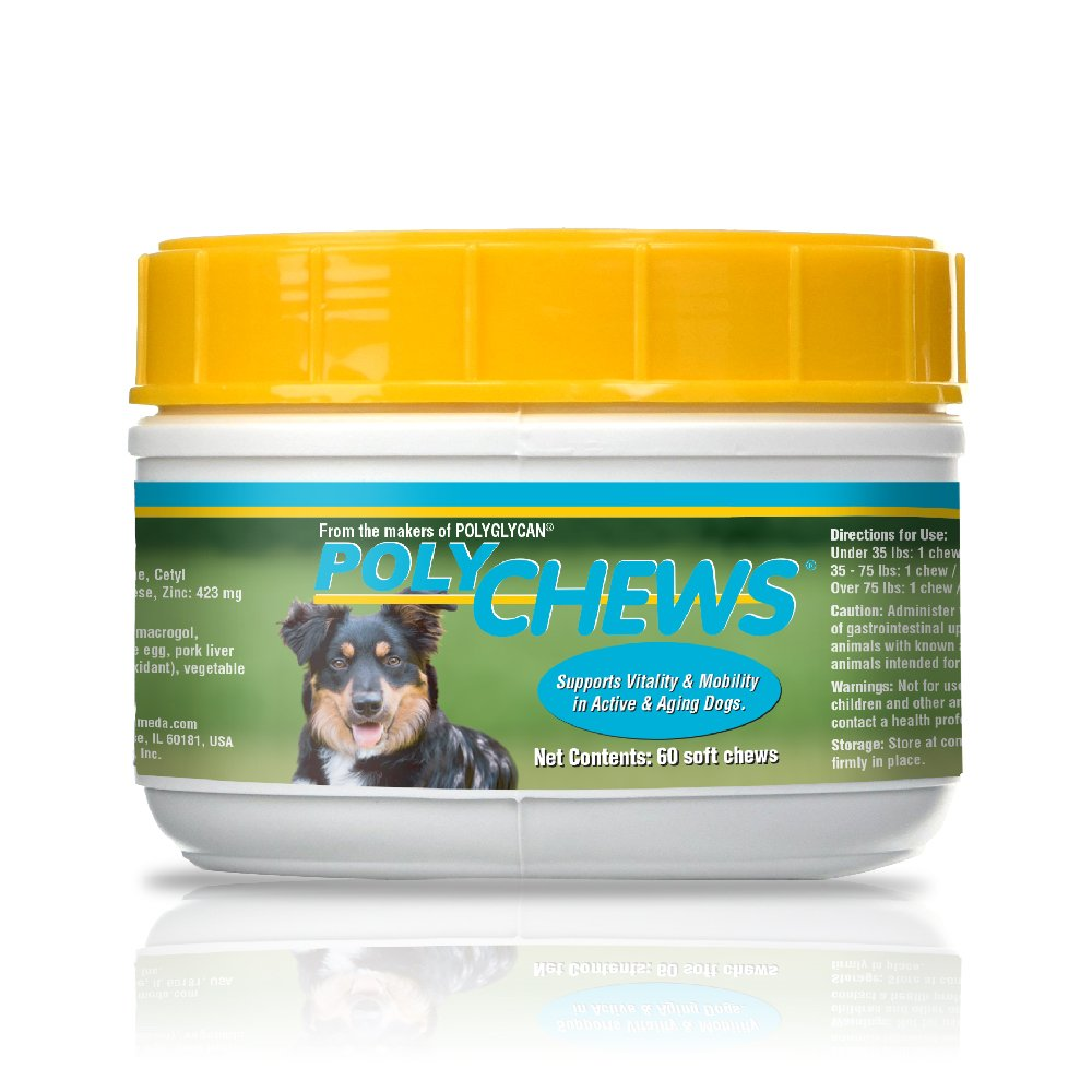 Bimeda PolyChews 60 Active Dog Chews - Glucosamine, Chondroitin, L-Carnitine, Alpha Lipoic Acid, Cetyl Myristoleate – Supports Healthy Joints – Active & Older Dogs - Pasteurized Egg for Immune Support