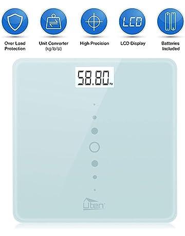 Uten Báscula de Baño Digital Alta Medición Precisa, Balanza Electrónica con Tecnología de Paso,