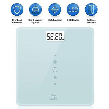 Uten Báscula de Baño Digital Alta Medición Precisa, Balanza Electrónica con Tecnología de Paso, Escala LCD Pantalla Retroiluminada 200kg/440Ib/31st, ...