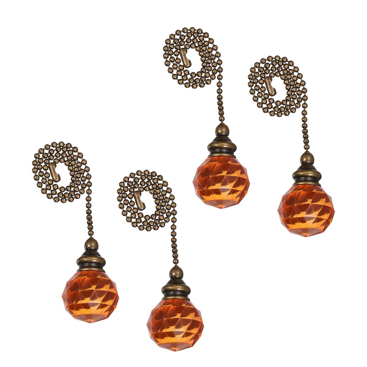 PENCK Fan Pull Chain Decorative Ceiling Light Pull Chains Ornament Set 12 inchesBronze Chains Acrylic Pendant for Ceiling Lights, Fans, Durable and No Rust, Pack of 4