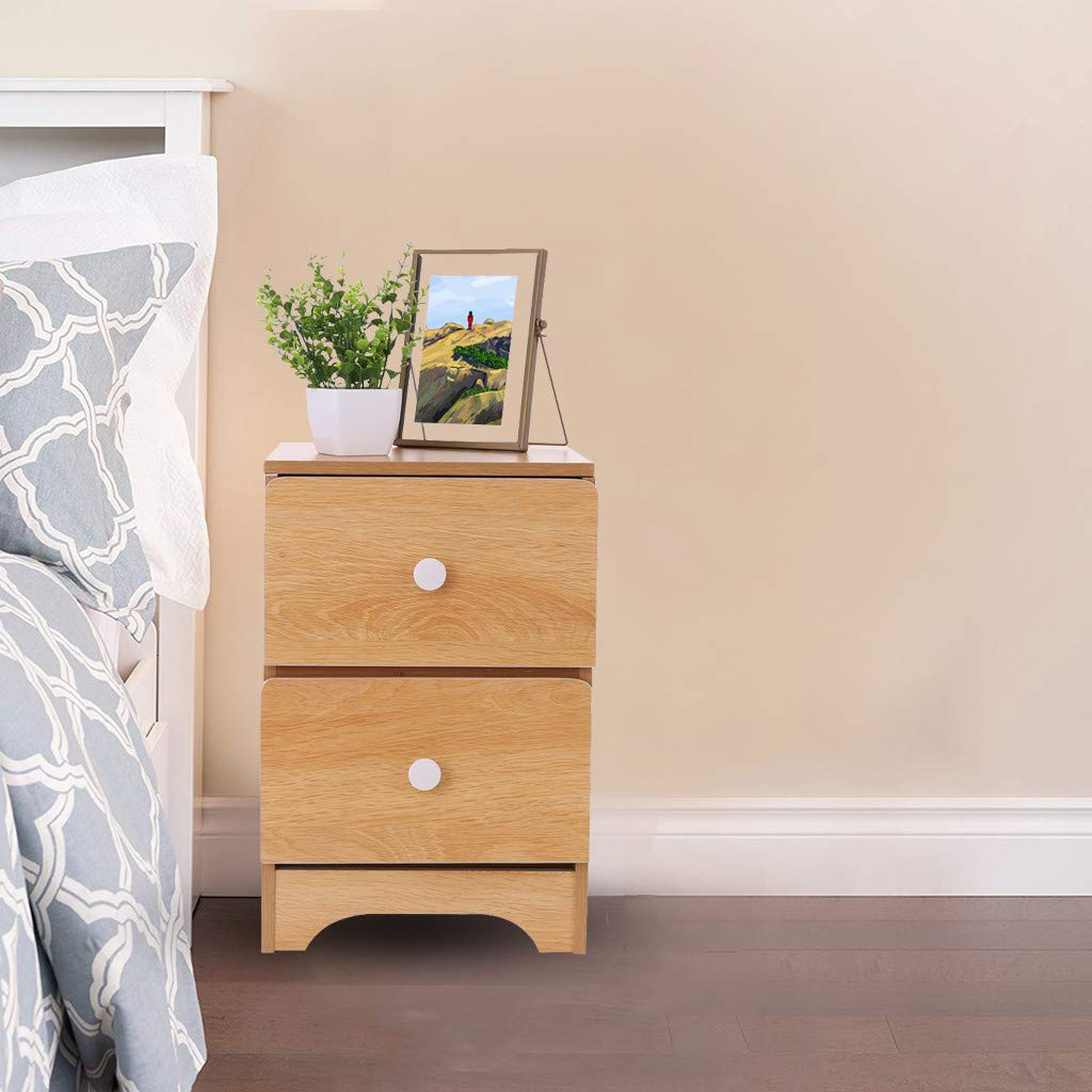Fiudx Bedside Table End Table Night Stand with Double Drawer Nightstand End Telephone Table Small End Table