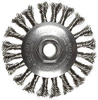 "Weiler 804-13456 Standard Twist Knot Wire Bevel Wheel, 4 1/2"" Diameter x 3/8"" Width, 5/8-11 UNC, 0.014"", 12500 rpm"