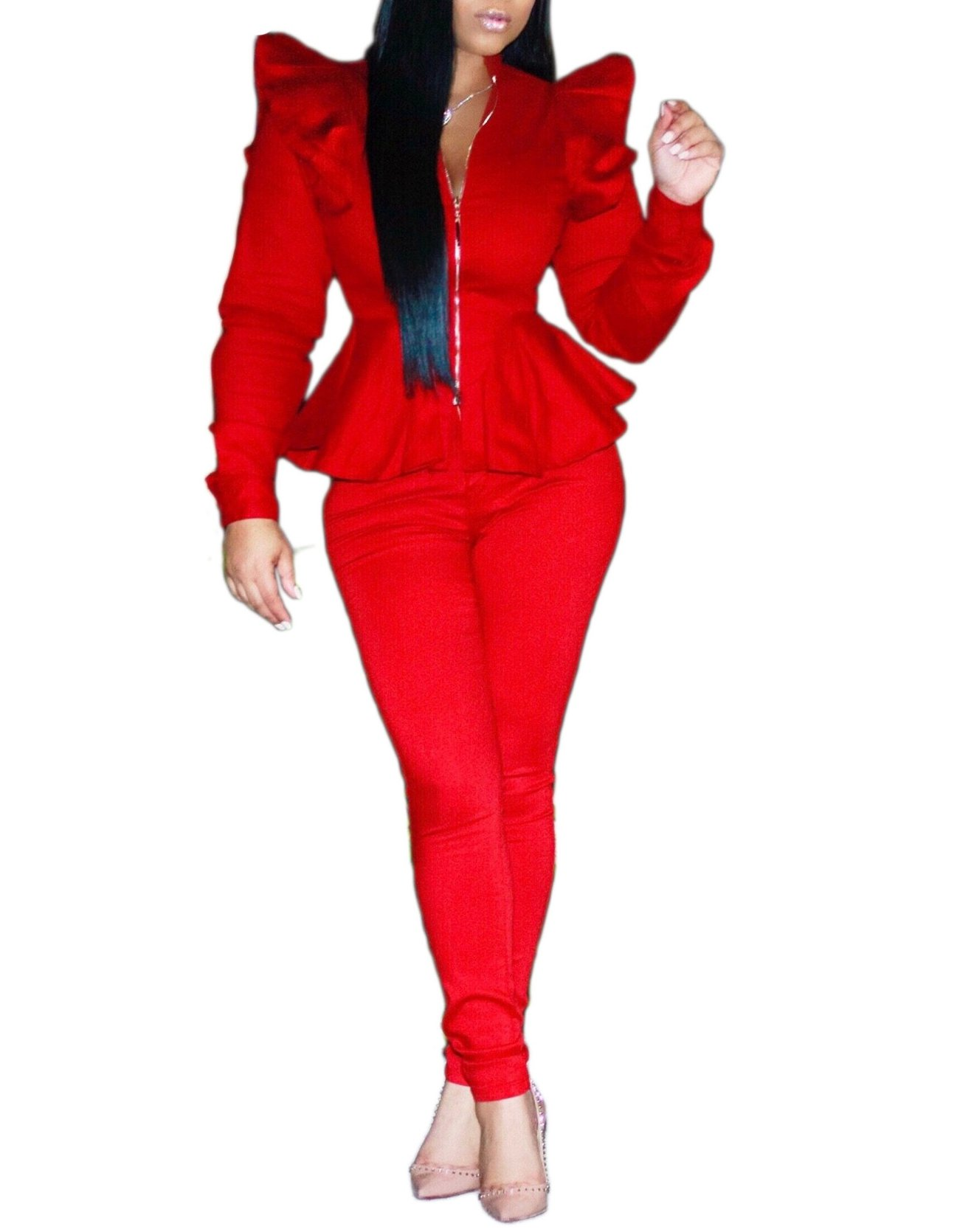 Womens Peplum Long Sleeve V Neck Blazer Jacket Long Pants 2 Pieces Set Outfits Red XL