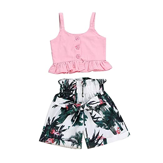 0290df4fe36e Amazon.com: 1-4 Years Old Toddler Baby Girl Kids 2019 Summer Casual Clothes  Outfit Cuekondy Cute Pink T Shirt Tops Floral Shorts Set: Clothing
