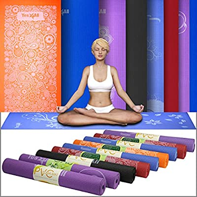 Yes4All Print PVC Yoga Mat - Non-Slip 6P Free Eco-Friendly Pilates Exercise Yoga Mat