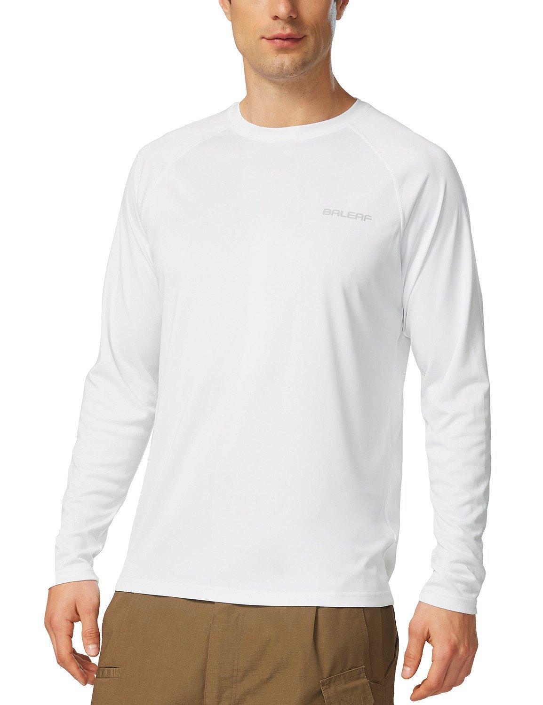 Baleaf Men's UPF 50+ Outdoor Running Long Sleeve T-Shirt White Size M