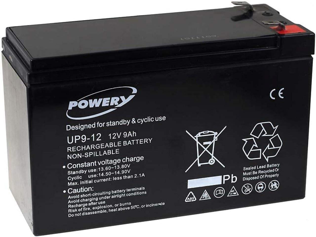 Powery Batería de GEL para SAI APC Back-UPS CS 500 9Ah 12V