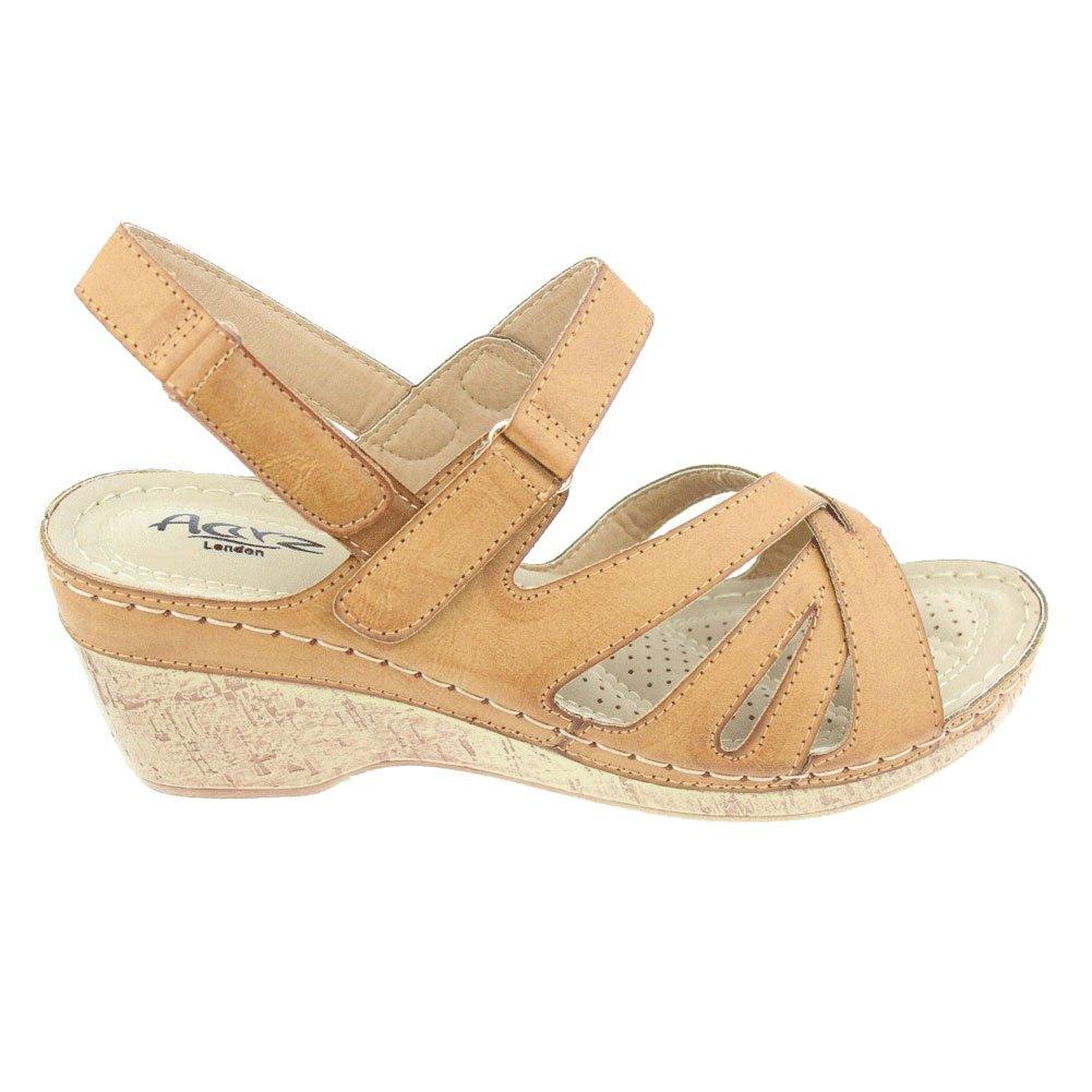 a1c6c292ec1472 Aarz Femmes Mesdames Soirée Comfort Casual léger Talon compensé Sandales  Parti Chaussures Taille (Noir, Camel): Amazon.fr: Chaussures et Sacs
